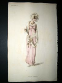 Ackermann 1810 Hand Col Regency Fashion Print. Half Dress 4-29